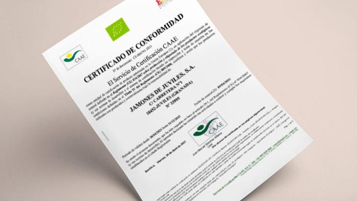Jamones de Juviles obtiene el Certificado de Jamón Ecológico